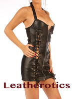 Fetish Leather Mini Dress with lace zip front side view