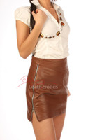 Designer Classic Leather Skirt Mini Tight Fit - brown