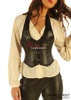 Leather Waistcoat Corset Tight Fit Steel Boned Vest top