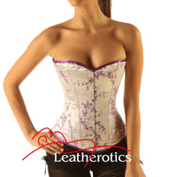 Lilac Silk Steel Boned Corset Basque Korsett Cherry blossom front view