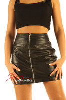 Luxury Leather Skirt Sexy Tight Fit zip front