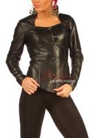 Women's Black Leather Dress Shirt Top BG9