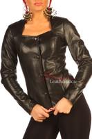 Women's Black Leather Dress Shirt Top BG9 front