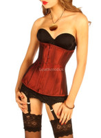 Maroon Satin Under Bust Steel Boned Hipster Corset