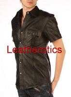Mens Real Leather Police Uniform Style Shirt