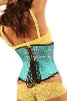 Light Blue Floral Silk Underbust Corset Back