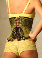 New Olivetone Steel Boned Silk U/B Corset 1800OLIVE Back
