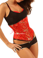 red silk corset front