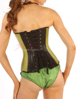 Overbust Lime Green Kid Leather Corset Basque 1814L image 2