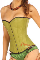 Overbust Lime Green Kid Leather Corset Basque 1814L