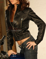 Real Leather Biker Style Jacket Stretch image 2