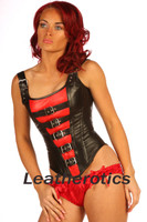 buckled leather corset