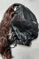 black leather wig mask 1