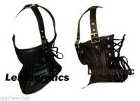Leather neck corset in black