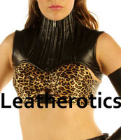 Real Leather Extreme Shoulder Corset Hals Korsett Harness Binder - front