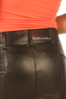 Leather Hobble Style Skirt tight fit aniline finish Goat skins  details