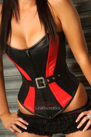 red and black leather overbust corset