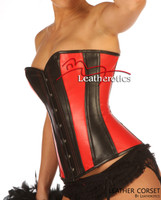 Red Black Overbust Leather Corset Tight lacing