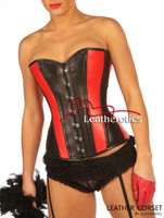 Red Black Overbust Leather Corset Tight lacing image 2