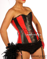 Red Black Overbust Leather Corset Tight lacing image 3