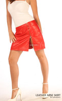 Red Leather Skirt Classic Design Super Sexy Mini Skirt