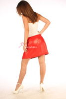 Red Leather Skirt Classic Design Super Sexy Mini Skirt image 3