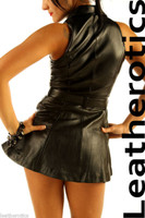Sexy Black Leather Sleeveless Mini Dress Top MD78 image 2