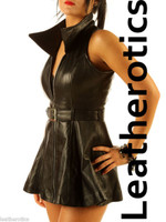 Sexy Black Leather Sleeveless Mini Dress Top MD78 image 3