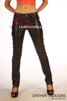 Womens Skinny Leather Jeans pants 5 pocket TR99