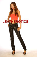 Womens Skinny Leather Jeans pants 5 pocket TR99  image 3