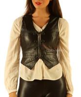 Soft Leather Short Waist Coat Waistcoat Top (wc2)
