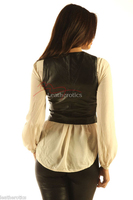 Soft Leather Short Waist Coat Waistcoat Top (wc2) image 2