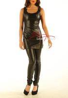 Black Leather Sleeveless Mini Dress (Md79)