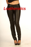 tight fit black leather leggings pic 2