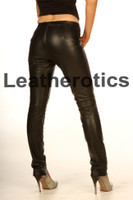 tight fit black leather leggings pic 3