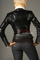Vegetable Tanned Ladies Leather Jacket Soft Cotton Lined - with extended detail.