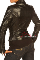 Vegetable Tanned Ladies Leather Jacket Soft Cotton Lined Style/J back