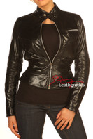 Vegetable Tanned Ladies Leather Jacket Soft Cotton Lined Style/J front