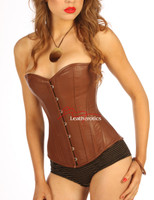 Victorian Classic Brown Leather English Corset steel boned front close up