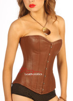 Victorian Classic Brown Leather English Corset steel boned front