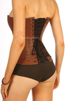 Victorian Classic Brown Leather English Corset steel boned back look