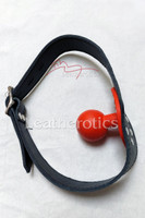 Leather bal gag in red colour 4