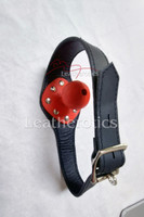Leather bal gag in red colour 2
