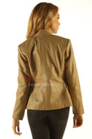 Ladies Tan Leather Blazer Jacket Classic Stylish Coat back view