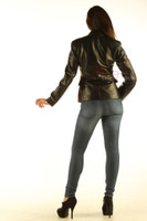 Ladies Leather Blazer Jacket Classic Coat back view