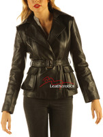 Women's Leather Jacket Wrap Around Belted Top front view
