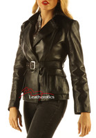 Women's Leather Jacket Wrap Around Belted Top side view