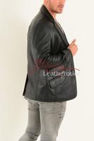 Men's Classic Fine Leather Blazer - side