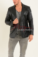 Men's Classic Fine Leather Blazer