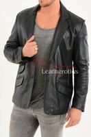 Men's Classic Fine Leather Blazer 3